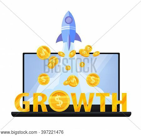 Revenue Growth Or Money Income Increase Finance Vector Concept With Laptop, Flying Dollar Coins, Gol