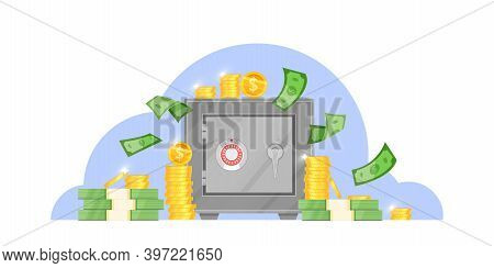 Bank Safe Box Vector Illustration With Flying Money Bills, Stacked Dollar Coins, Closed Door With Se