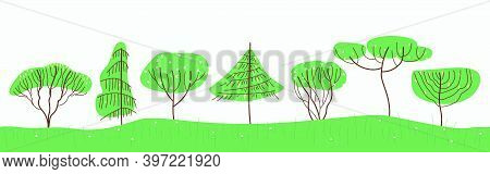 Set With Spring Trees In Line Art Style. Stylized Trees Spruce, Pine, Willow, Larch, Lilac, Apple Bl