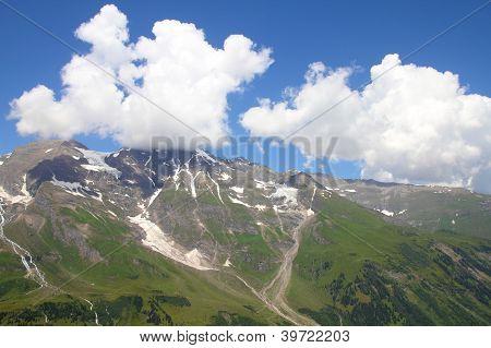 Mountains in Austria. Hohe Tauern National Park Glocknergruppe range of mountains. Mountain peaks: Glockerin Grosser Baerenkopf and Grosses Wiesbachhorn. poster
