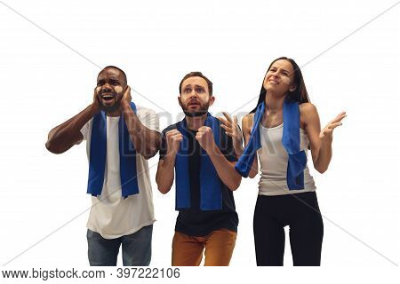 Sad. Multiethnic Soccer Fans Cheering For Favourite Team With Bright Emotions Isolated On White Back