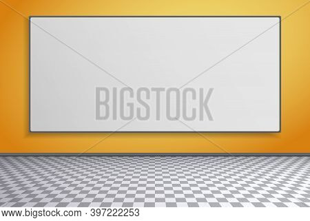 Room With Squared Floor Pattern, Yellow Wall And Frame Or Billboard For Advertising, Vector Illustra