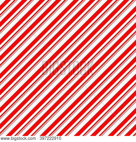 Stripes Candy Cane Seamless Pattern. Diagonal Straight Lines Christmas Background. Red And White Pep