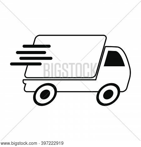 Fast Delivery Truck Icon. Vector Concept Of Shipping Service. Symbol Of Transport Van Or Package Cou
