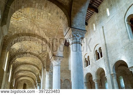 Castelnuovo Dell'abbate, Italy - September 20, 2019: Municipaliry Of Montalcino, The Side Nave Of Th