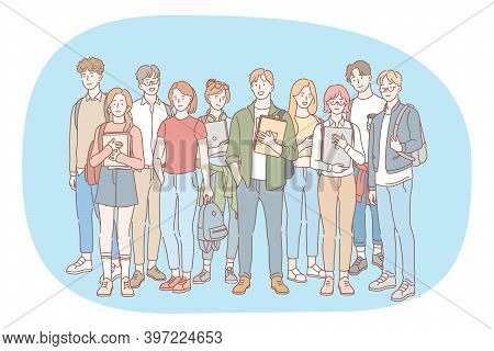 Students, Classmates, Group Of Teenagers Concept. Group Of Happy Smiling Young People Friends Teens