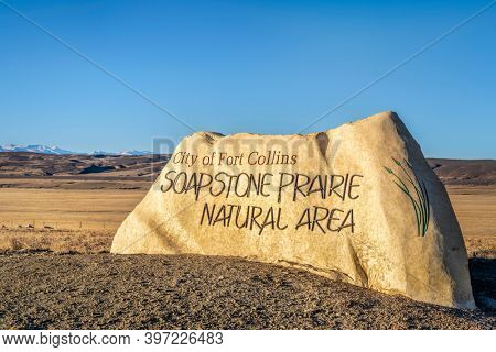 Fort Collins, CO, USA - November 28, 2020: Entry sign to the Soapstone Prairie Natural Area in northern Colorado maintained by city of Fort Collins.