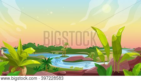 Game Background Of Cartoon Nature Landscape, Vector Ui And Gui With Forest, Ground, Sky, Green Grass