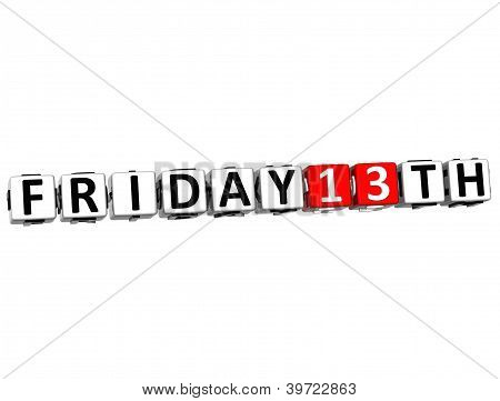 3D Friday 13Th Button Click Here Block Text