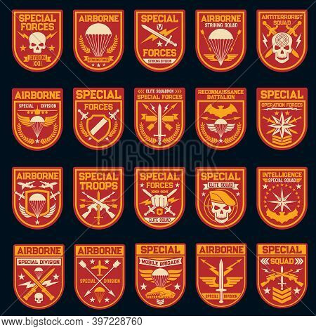 Military And Army Patches Of Special Operation, Air And Airborne Forces. Vector Icons Of Skull, Shie