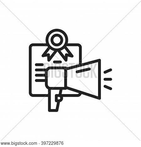 Oratory Courses Black Line Icon. Vector Illustration. Outline Pictogram For Web Page, Mobile App, Pr