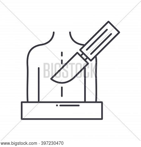 Incision Icon, Linear Isolated Illustration, Thin Line Vector, Web Design Sign, Outline Concept Symb