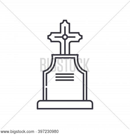 Graveyard Icon, Linear Isolated Illustration, Thin Line Vector, Web Design Sign, Outline Concept Sym
