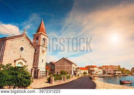 Old Architecture In Tivat, Montenegro. Kotor Bay, Adriatic Sea. Famous Travel Destination.