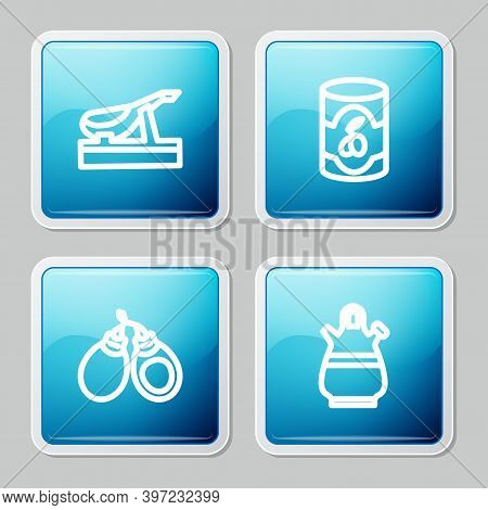 Set Line Spanish Jamon, Olives In Can, Castanets And Sangria Pitcher Icon. Vector