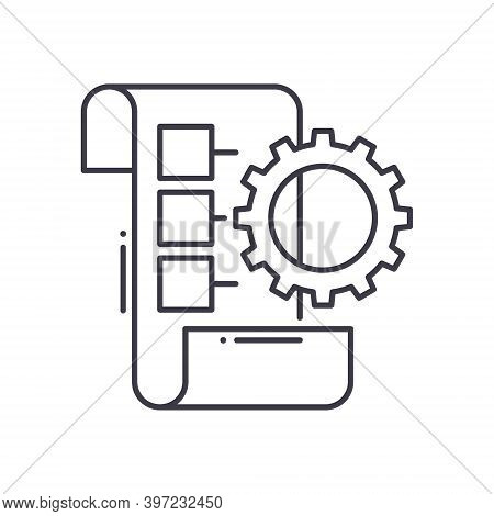 Implementation Planning Icon, Linear Isolated Illustration, Thin Line Vector, Web Design Sign, Outli