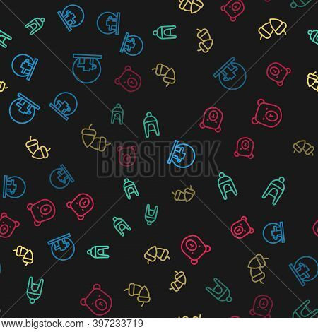 Set Line Montreal Biosphere, Winter Hat, Acorn And Bear Head On Seamless Pattern. Vector