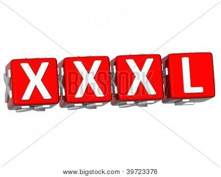 3D Xxxl Button Click Here Block Text