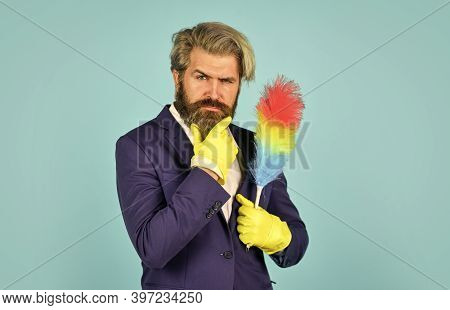 Clear Reputation. Hipster Hold Cleaning Tool. Cleaning Concept. Office Duster. Man Use Pp Duster. Du