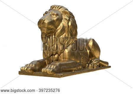 3d Render Of Lying Lion Gold Sculpture Isolated On White