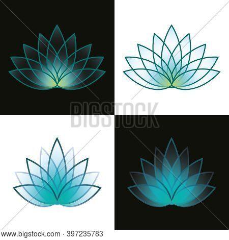 Nature Spa Lotus On Black And White. Design Beauty Icon. Jpeg Illustration