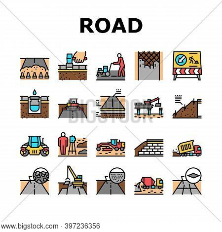 Road Construction Collection Icons Set Vector. Gravel Crushed Stone Road And Asphalt, Embankment And