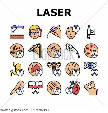 Laser Therapy Service Collection Icons Set Vector. Laser Removal Of Vascular Pathologies And Hair, A