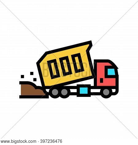 Truck Pouring Building Materials Color Icon Vector. Truck Pouring Building Materials Sign. Isolated