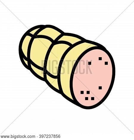 Sausage Cooked Meat Food Color Icon Vector. Sausage Cooked Meat Food Sign. Isolated Symbol Illustrat