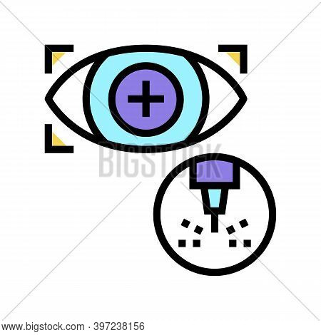 Eye Vision Laser Treatment Color Icon Vector. Eye Vision Laser Treatment Sign. Isolated Symbol Illus