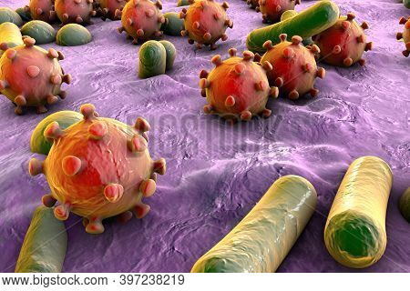 Bacteria And Viruses On Surface Of Skin, Mucous Membrane Or Inte
