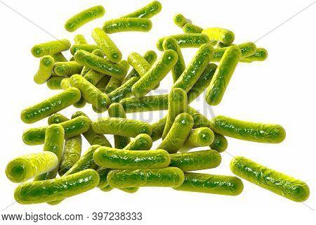 Rod-shaped Bacteria Isolated On White Background, Escherichia Co