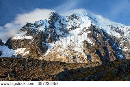 Evening View Of Mount Salkantay, Salcantay Trek In The Way To Machu Picchu, Cuzco Area In Peru