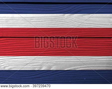 Flag Of Costa Rica On Wooden Wall Background. Grunge Costa Rica Flag Texture, Blue Red And White Col