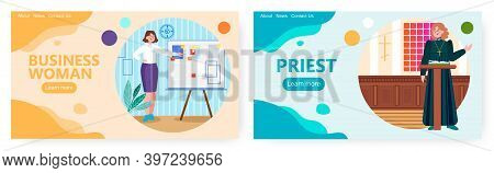 Business Woman Making Presentation And Pointing At The Board. Concept Vector Illustration. Female Pr