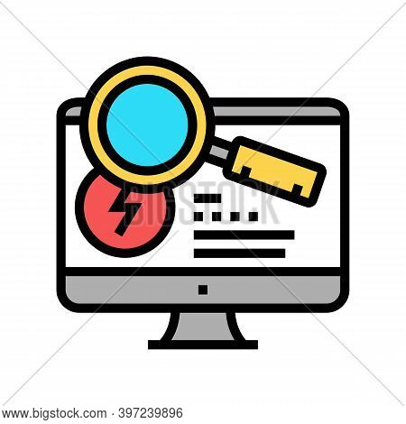 Research Computer Incident Color Icon Vector. Research Computer Incident Sign. Isolated Symbol Illus