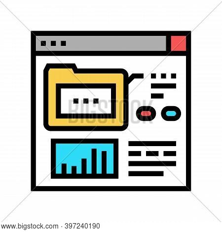 Electronic Folder Fix Incident Color Icon Vector. Electronic Folder Fix Incident Sign. Isolated Symb
