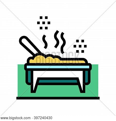 Cooked Meal In Catering Dish Color Icon Vector. Cooked Meal In Catering Dish Sign. Isolated Symbol I