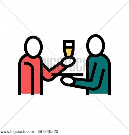 Waiter Offering Drinks Color Icon Vector. Waiter Offering Drinks Sign. Isolated Symbol Illustration