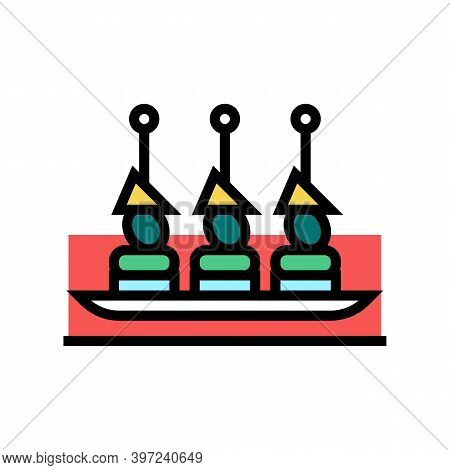 Canapes Snack Color Icon Vector. Canapes Snack Sign. Isolated Symbol Illustration