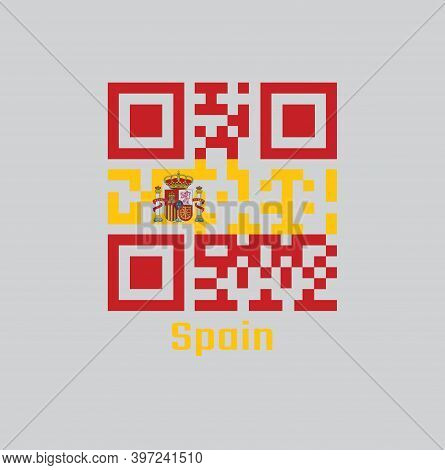 Qr Code Set The Color Of Spanish Flag. A Horizontal Of Red Yellow And Red; Charged With The Spanish