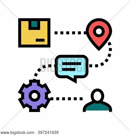 Stages From Manufacturing To Delivery Customer Order Color Icon Vector. Stages From Manufacturing To