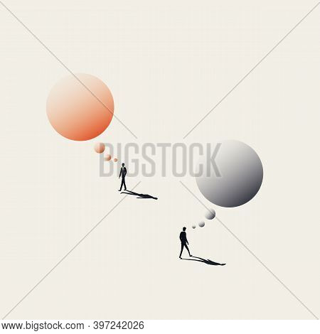 Different Ideas, Opposite Opinions Business Vector Concept. Symbol Of Thinking, Contemplation, Brain