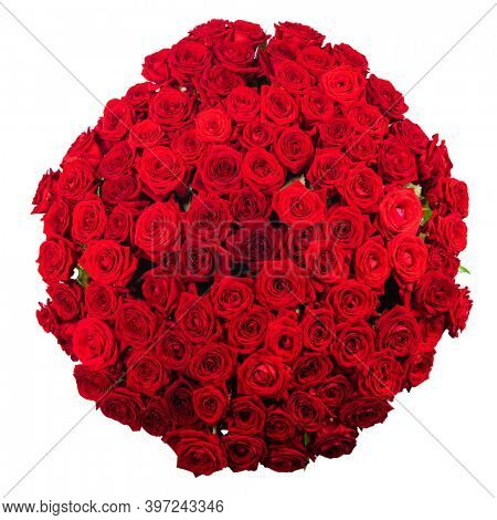 Beautiful red roses bouquet isolated on white top view