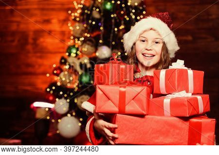Open Christmas Present. Little Girl In Party Hat. Winter Holiday. Winter Holiday Party. New Year. Sa