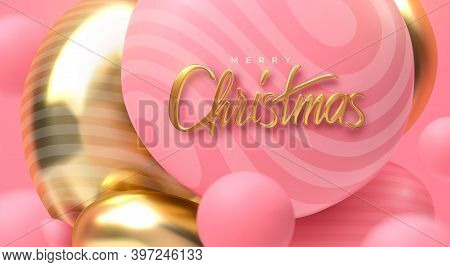 Merry Christmas. Vector Holiday Illustration. Festive Decoration Of Golden Realistic 3d Lettering. A