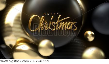 Merry Christmas. Vector Holiday Illustration. Festive Decoration Of Golden Realistic 3d Lettering. B