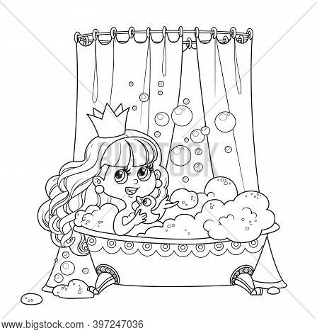 Cute Brunette Princess Taking Bath With A Duck Outlined For Coloring Book