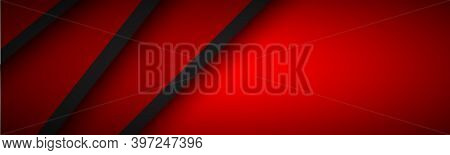 Abstract Header With Red And Black Layers Above Each Other. Modern Design Banner For Your Business.
