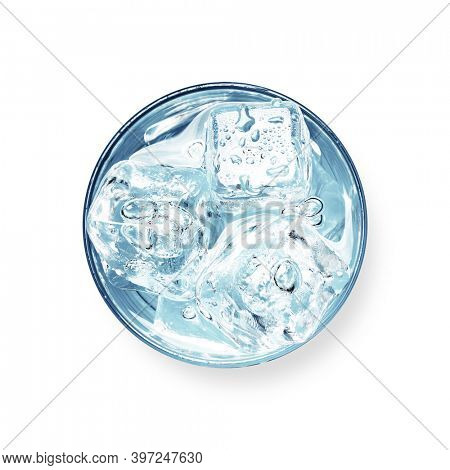 Glass of water with ice cubes. Top view flat lay isolated on white background